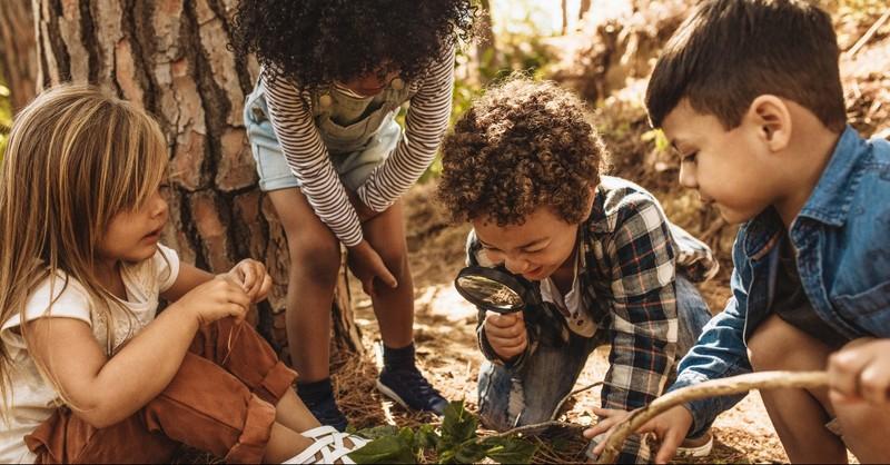 Kids exploring the forest, what does Jesus teach us about children