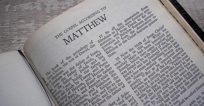 Bible open to gospel of Matthew, gospels as eyewitness accounts