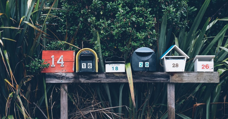 mail boxes lined up outside