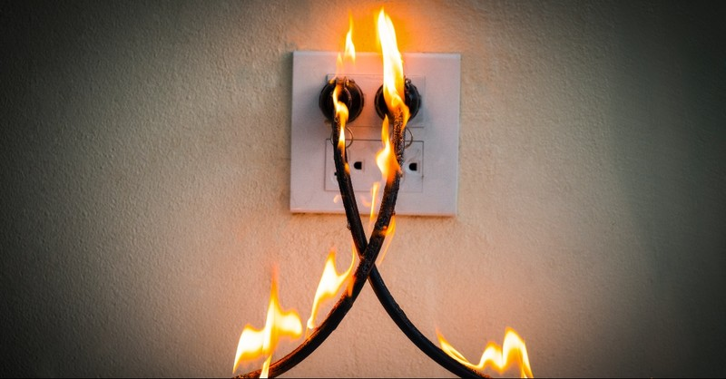 Power cords on fire