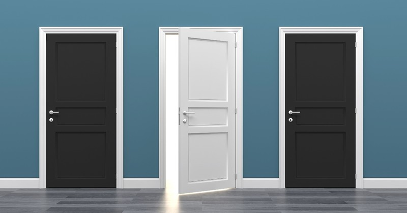 three doors one open two closed