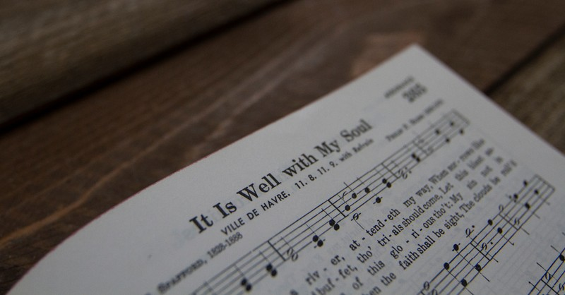 hymn book open to song It Is Well with My Soul