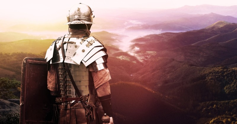 Roman soldier looking over mountains