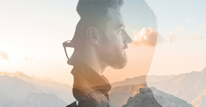 double exposure man wondering mountainscape what goes around comes around