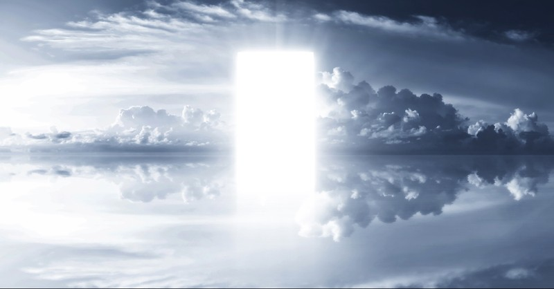 Clouds with a bright door
