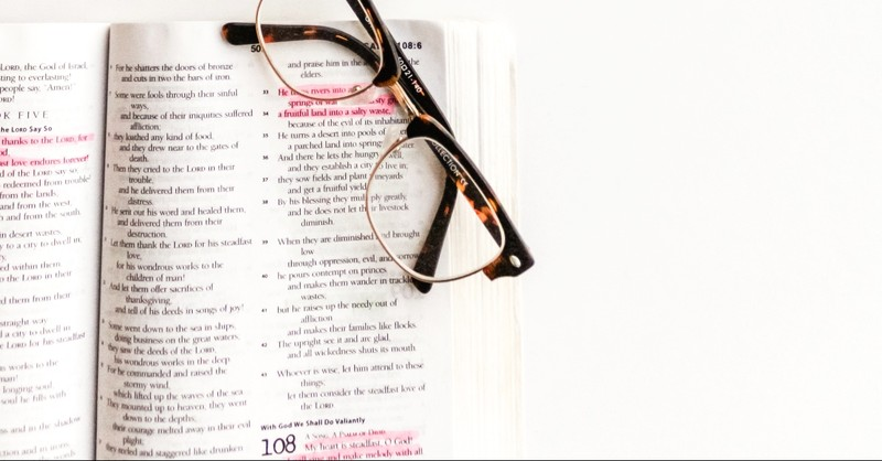 Glasses over top highlighted scripture, Edomites