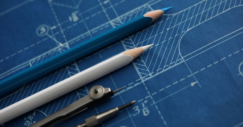 Pencils on a construction plan