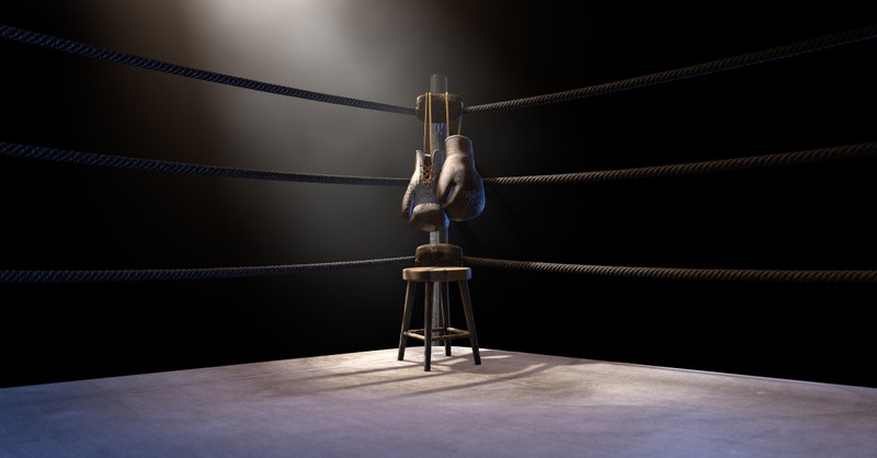 Boxing gloves in a ring