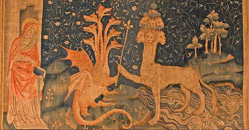 dragon in revelation, beast of the sea, dragon with 7 heads
