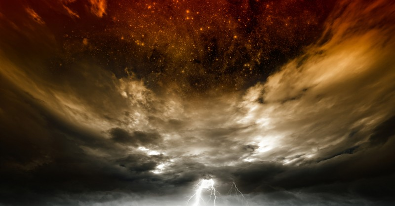 eerie red storm in sky to signify end times whore of babylon in revelation