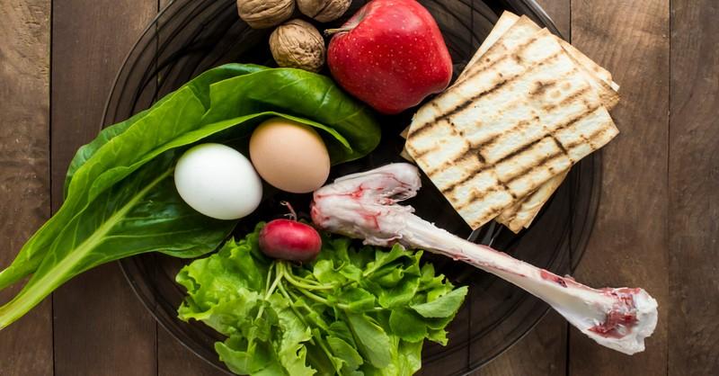 passover meal on round seder plate eggs lamb unleavened bread - was Jesus vegan