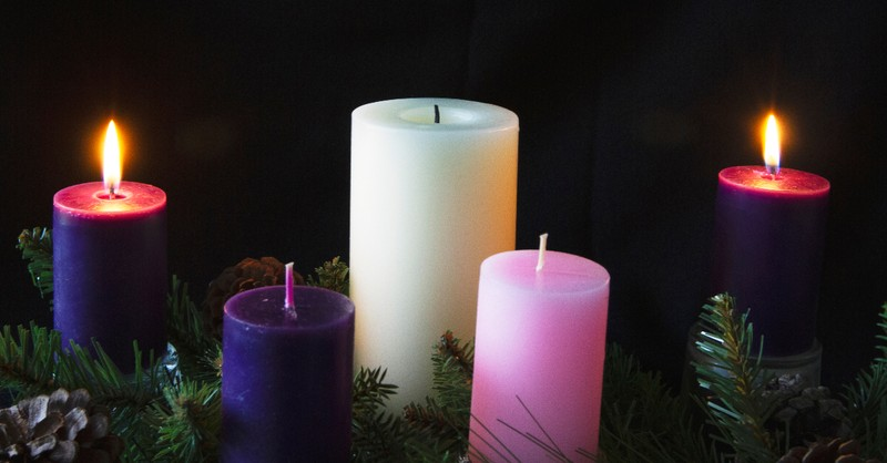 second sunday of advent two purple candles lit in advent wreath