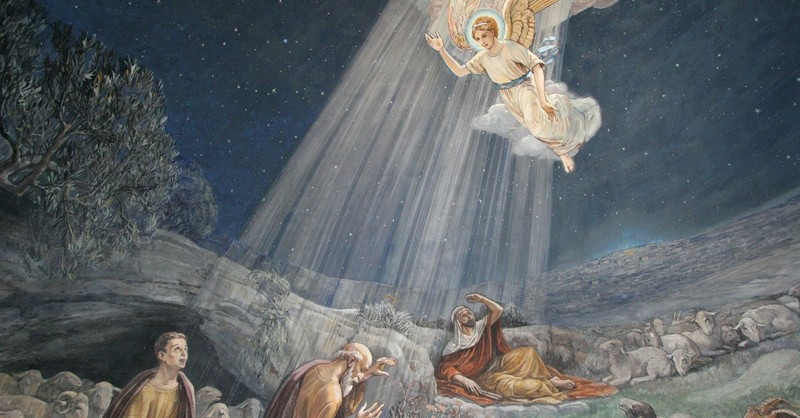 painting of angel coming to announce birth of jesus to shepherds, for unto you is born this day in the city of David a saviour who is christ the lord