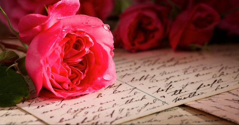 Letter with roses