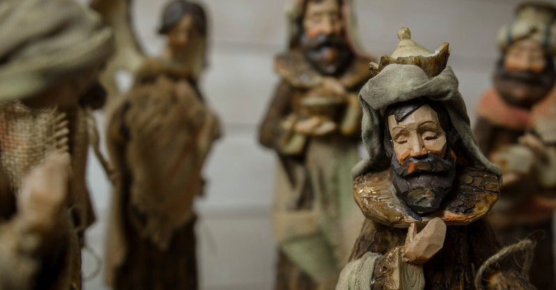 Wisemen figurines in Christmas nativity or creche scene