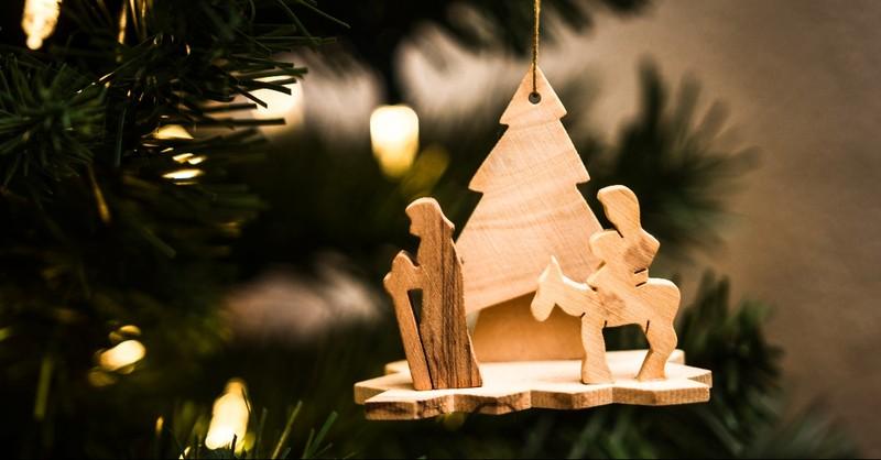 Nativity ornament on a Christmas Tree