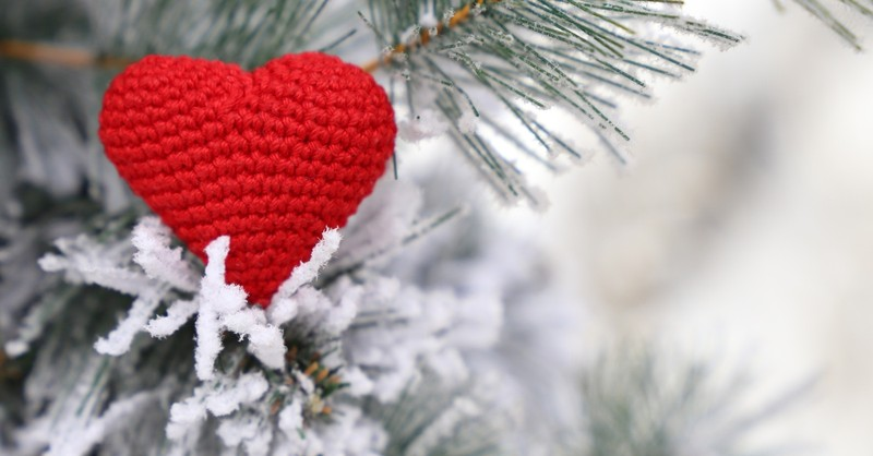 crocheted heart decoration in a christmas tree, four week advent bible study