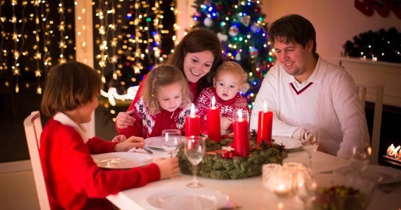 family celebrating advent