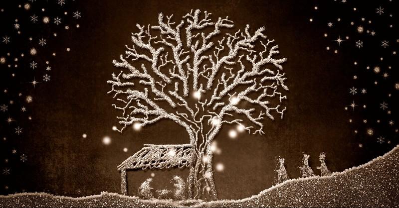 Nativity scene in glitter