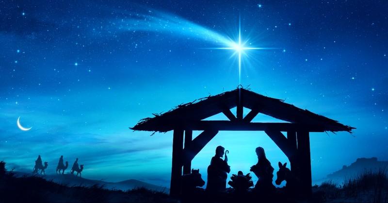 Nativity scene with star and magi