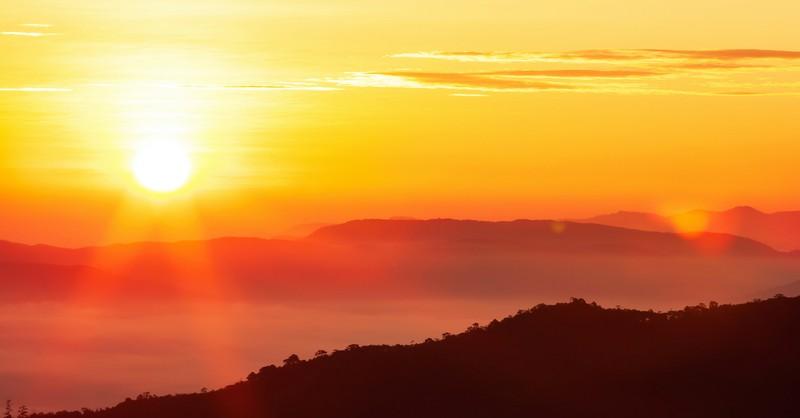 dawn at sunrise at mountain scene, darkest before the dawn