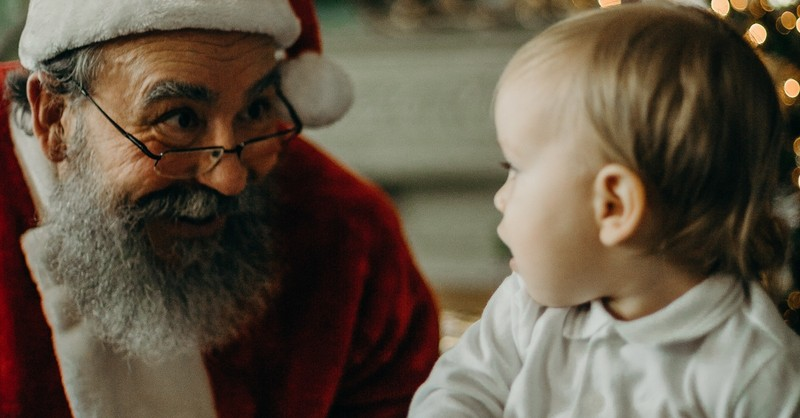 santa claus with baby