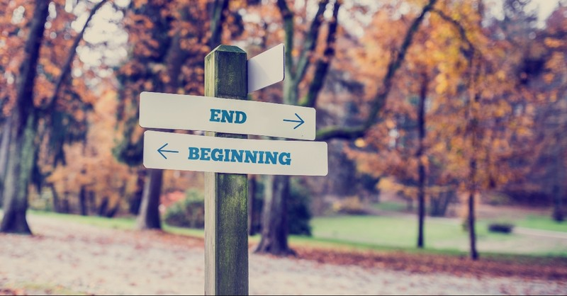 Sign that says beginning and end