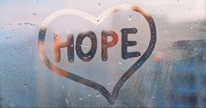 Hope with a heart written in glass