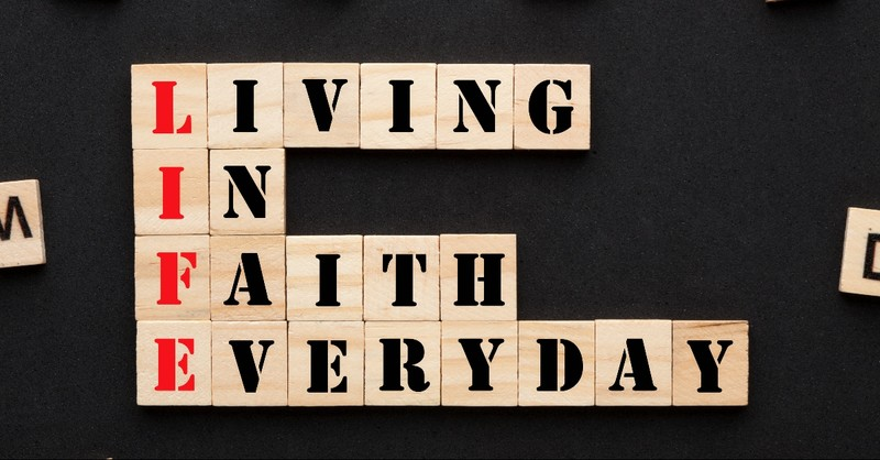 Living in faith everyday block letters