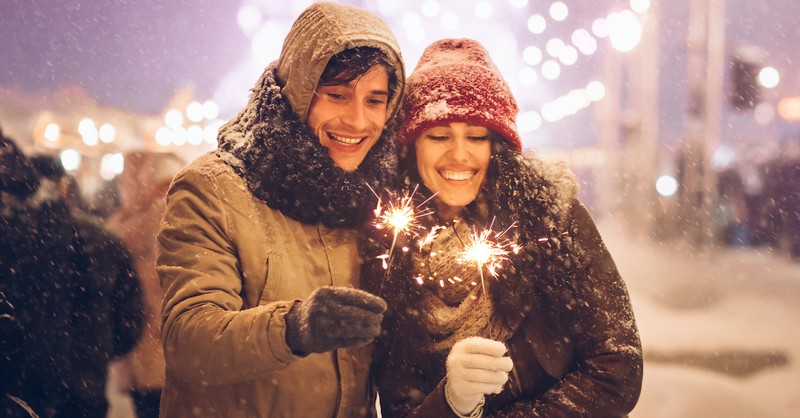 New Years' resolution for Christians, couple holding sparklers