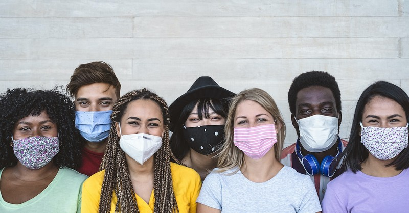 people with masks, good neighbor in a covid world