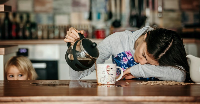 tired mom pouring herself coffee, mom burnout