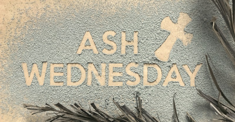 Ash Wednesday written in ashes on beige background with palm branches around edging, ash wednesday prayer