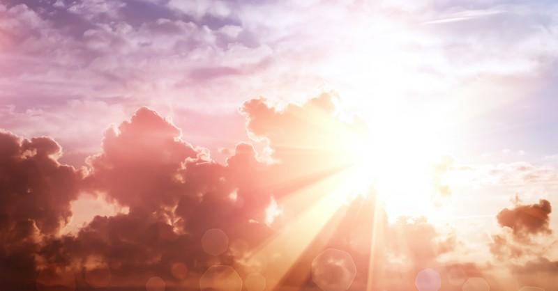 bright light shining through clouds in blue sky, Holy Spirit as a person