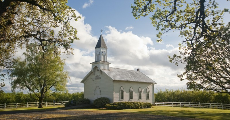 white church building in rural area, why did Jesus go to church