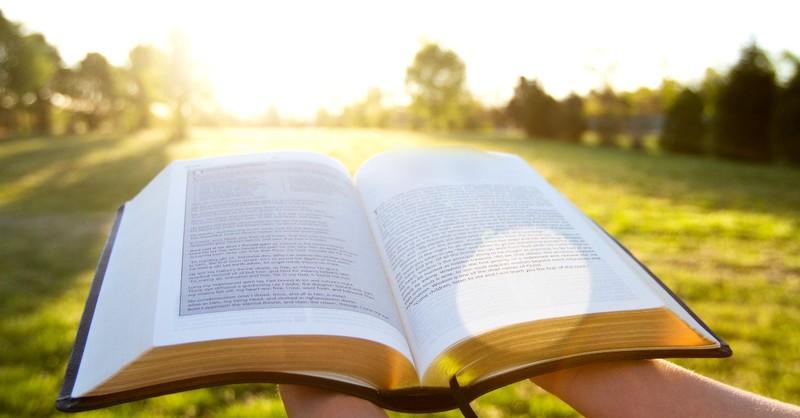 Bible open at sunrise