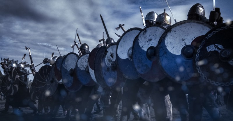 army battle holding shields and swords, the battle is not yours
