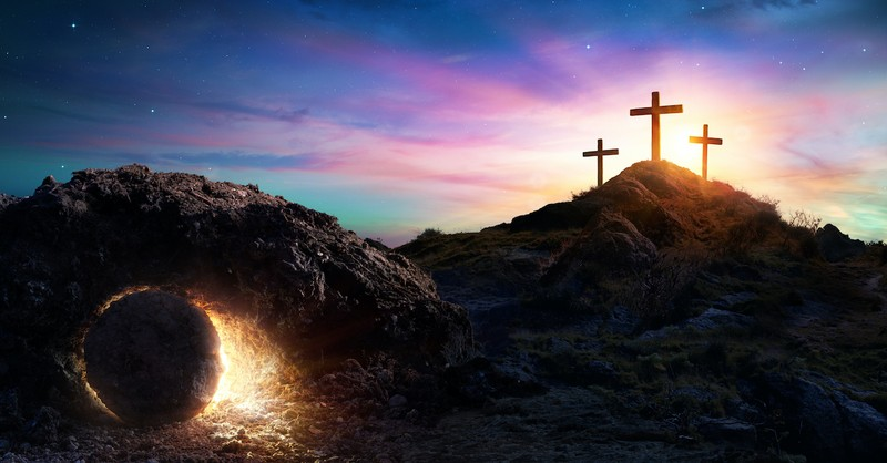 cross and tomb, Holy Week Bible verses