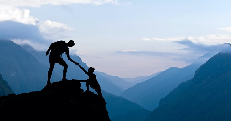 scaling a mountain, trusting in God
