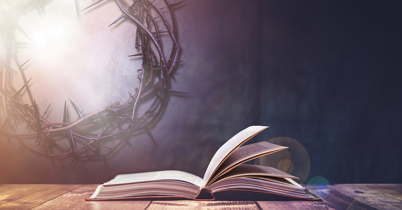 Bible with crown of thorns behind it, easter scriptures
