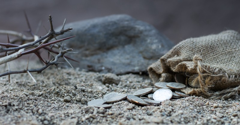 bag of coins near a crown of thorns, Spy Wednesday