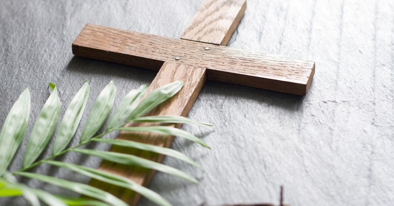 cross with a palm branch, easter prayer