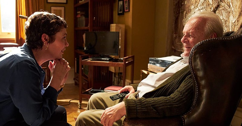Olive Coleman and Anthony Hopkins in The Father, Things parents should know about The Father