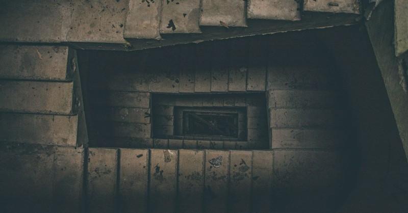 steps dark stone eerie staircase