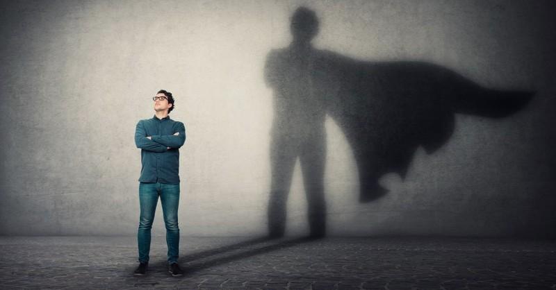 man shadow hero cape superhero