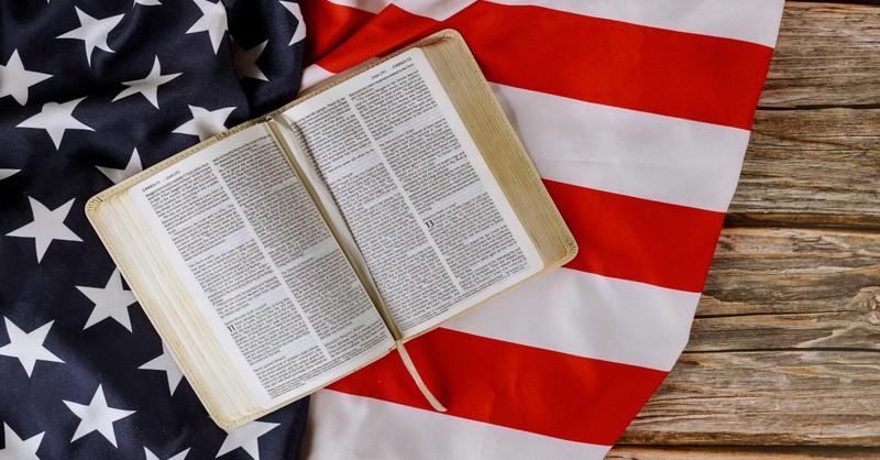 united church of christ, bible, american flag