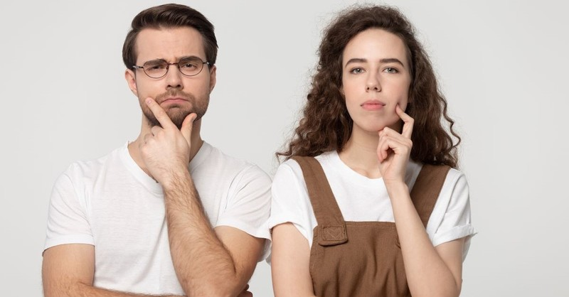 couple thinking questioning man and woman gender roles
