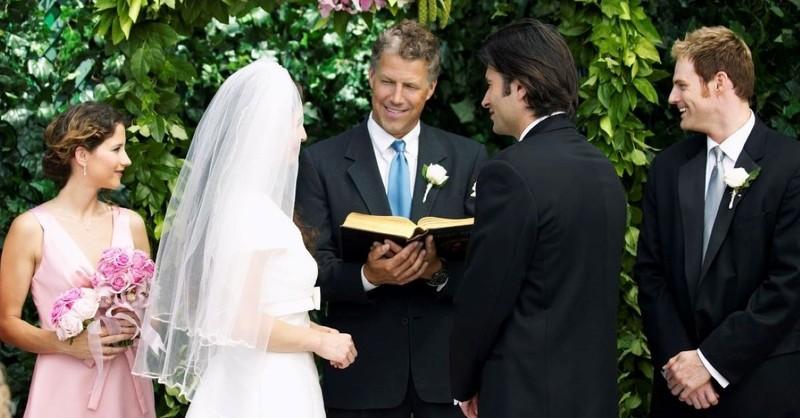 wedding couple newlyweds pastor officiant ceremony