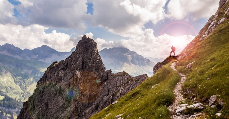 Man hiking on the crags and rocks