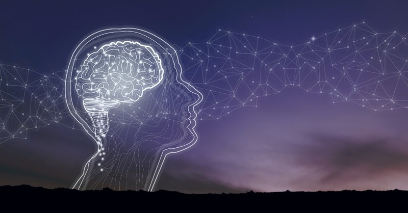 Graphic of translucent head and brain over landscape